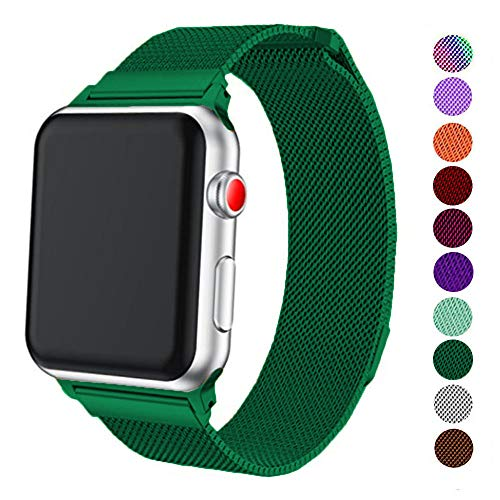 DELELE Compatible for Apple Watch Band 38mm 42mm 40mm 44mm, Milanese Loop Magnetic Metal Replacement Strap with Magnet Lock for Apple iWatch Series 4/3 / 2/1 Women Men (Blackish Green, 38mm/40mm)
