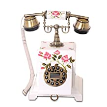 European Telephone high-Grade Antique Retro Luxury Fashion Rose Wood Home Phone Call Quality is Clear and No Noise (Color : B)
