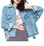 Pandapang Women's Hip Hop Button Cut Off Washed Faded Irregular Coat Denim Jackets Blue US One Size