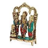 AapnoCraft Brass Ram Darbar Sculpture - Hindu God Rama(Ram) family Statue Gods Figurine Home/ Temple/Shrine Decor