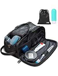 Toiletry Bag for Men or Women - Dopp Kit For Travel. Large Cosmetic and Shaving Bag. Toiletries Organizer PU Leather Bags (Standard, Black)