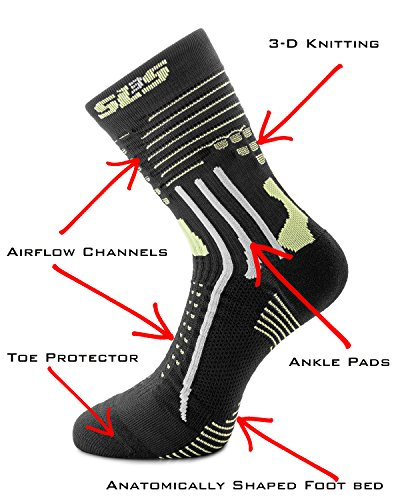 SLS3 calcetines deportivos con protector de dedos y almohadillas de tobillo Negro