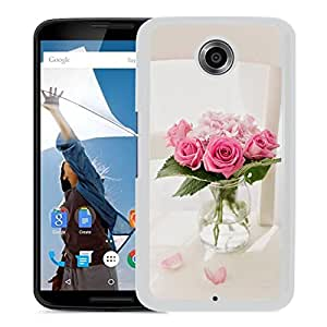 New Beautiful Custom Designed Cover Case For Google Nexus 6 With Pink Roses Bouquet Vase (2) Phone Case