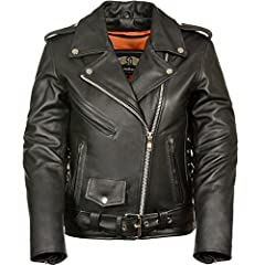 LC2701 Ladies Black Basic Classic Motorcycle Premium Leather Jacket with plain sides