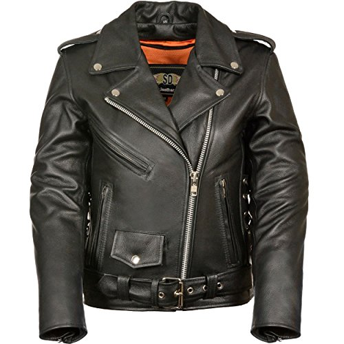 LC2701 Ladies Black Basic Classic Motorcycle Premium Leather Jacket with plain sides,Medium