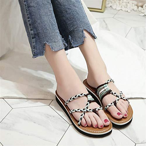 Grande Tricotées Taille Été À Fraîches Plat Blue Chaussures Pantoufles pour Femmes YUCH vwptgqYv