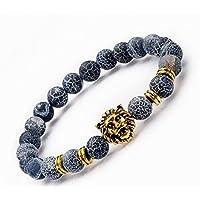 Hecho a mano Htvng joyeria hecha a mano azul cielo crack Bead piedra / chapado en oro de cabeza de León, mens 8 mm perlas pulseras de elástico para mujeres y niñas