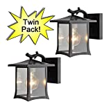 Hardware House 19-1975 Oil Rubbed Bronze Mission Style Outdoor Patio / Porch Wall Mount Exterior Lighting Lantern Fixtures with Clear Glass - Twin Pack