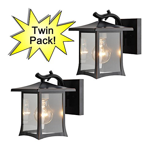 Hardware House 19-1975 Oil Rubbed Bronze Mission Style Outdoor Patio / Porch Wall Mount Exterior Lighting Lantern Fixtures with Clear Glass - Twin Pack (Lantern Outdoor Lighting Style)