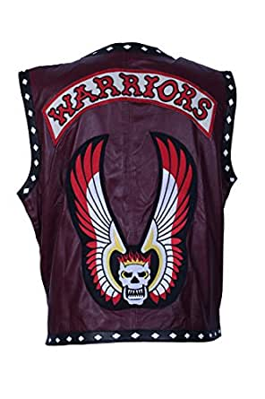 "Leather Maroon Genuine Warriors Inspired Vest White Diamonds For Men (XL - To Fit Chest 44-46"")"
