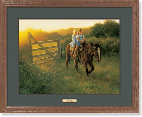 (Ridin' Double - Kids & Horse GNA Premium Framed Print by Robert Duncan)