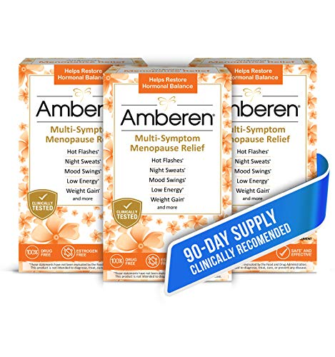 Amberen: Safe Multi-Symptom Menopause Relief. Clinically Shown to Relieve 12 Menopause Symptoms: Hot Flashes, Night Sweats, Mood Swings, Low Energy and More. 3 Month Supply