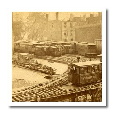(3dRose ht_97707_2 1860S New York City Train on Ny Elevated Railroad Yonkers Switch Station-Iron on Heat Transfer for Material, 6 by 6-Inch, White)