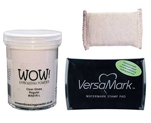 Embossing Powder Bundle, Wow! Large 160ml Clear Gloss Embossing Powder, VersaMark Pigment 3x2 Inkpad, Inkadinkado Embossing Magic Pad by Wow! Embossing Powders