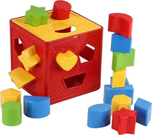 Baby Blocks Shape Sorter Toy - Childrens Blocks Includes 18 Shapes - Color Recognition Shape Toys With Colorful Sorter Cube Box - My First Baby Toys - Toys Gift For - Toys Blocks Childrens