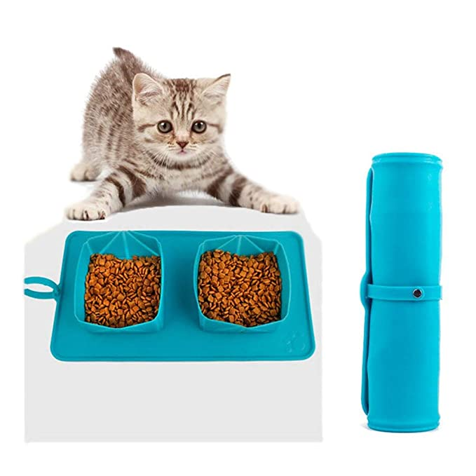 CQLXZ Tazón De Viaje para Perros, Tazones Portátiles Dobles Enrollables para Mascotas con Estuche De Transporte, Tazón De Silicona Plegable, Perfecto para Gato/Perro Paseos Y Acampada,Blue