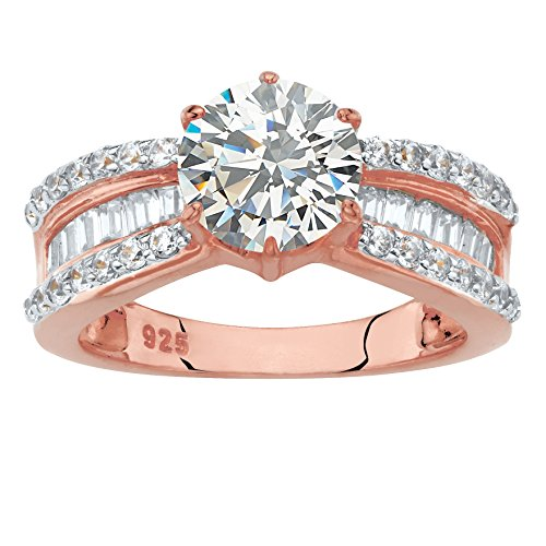 - 18k Rose Gold over .925 Silver Round White Cubic Zirconia Engagement Ring Size 9