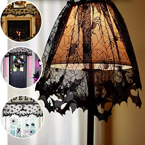 Halloween Lace Halloween Decorations Lamp Shade Cover Halloween Decor Black Spider Web Halloween Lace for Halloween Lamp Decorations Festive Party Supplies, 18 X 60 Inch -