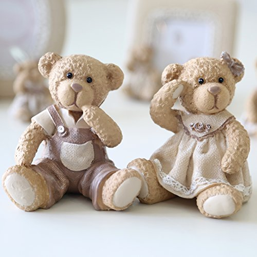 """Eastyle couple of Lovely Resin Teddy Bear Figurines Christmas Birthday Wedding Gifts Decoration 3.7H""""(brown)"""