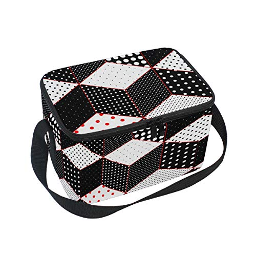 Lunch Bag Tote Bag Polka Dot Patchwork Cubes Surfaces Lunch Box Insulated Lunch Holder for Men &Women ()