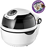 Gourmia GTA1500 Digital Halogen CookCenter - Air Fryer, Griller and Roaster - 7 Preset Modes - Calorie Reduction Technology - Bonus Accessories - 1300W - White/Black - Free Recipe Book