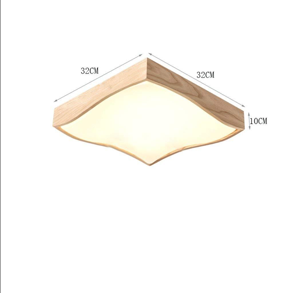 WHKFD Fachmann-Art-festes Holz führte Deckenleuchte, einfachen und eleganten Acryllampenschirm, Wohnzimmer-Studie-Handbuch-Balkon-Gang-Haustier-energiesparende Deckenleuchte für Haustiere