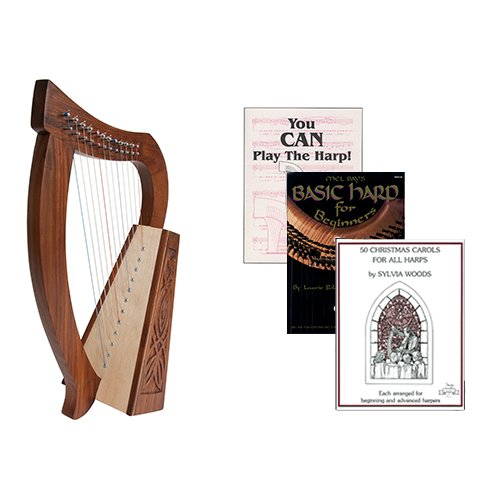 Homeschool Music Baby Harp w/Introduction to Harp Book Bundle + 50 Christmas Carols Book by Homeschooling Harps