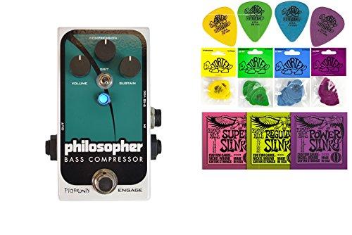Pigtronix Philosopher Bass Compressor String Bundle w/ 2 free Items: Ernie Ball Guitar Strings, 1 Dozen Dunlop Tortex Picks