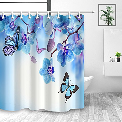 Spring Floral Flowers Wallpaper Shower Curtain, Nature Butterfly Flying on Garden Orchid Flower Shower Curtains, Polyester Fabric Waterproof Bathroom Curtain with Hooks, 70X70in, Blue