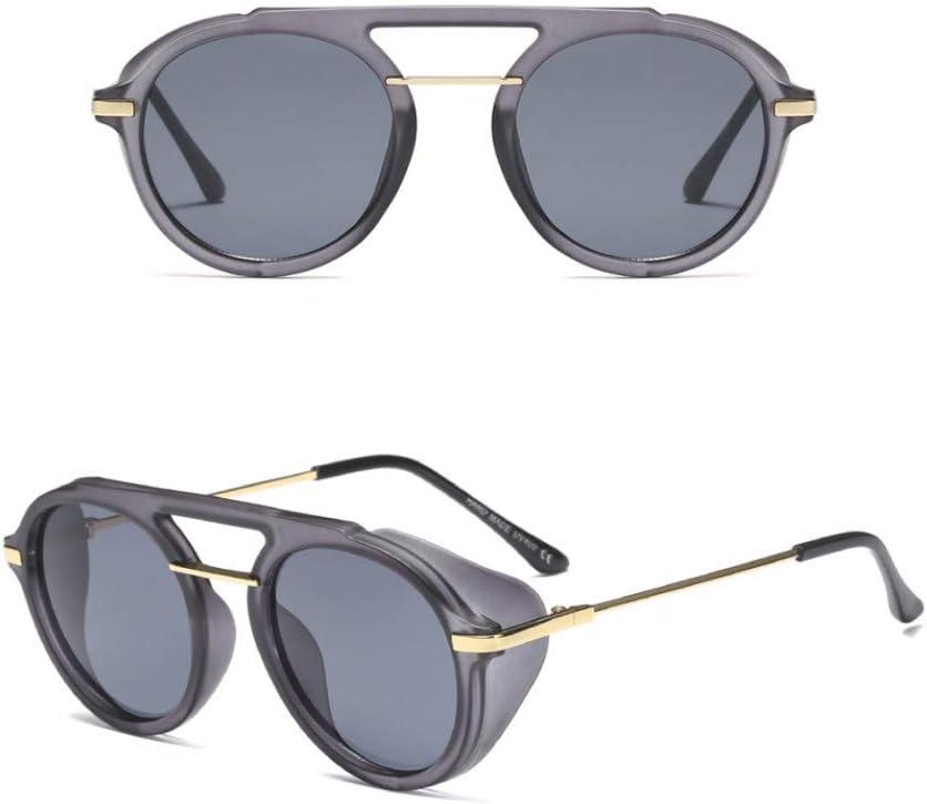 iceBoo Gafas de Sol con protección Lateral para Hombres Gafas de Sol Circulares Retro uv400 Medio Metal