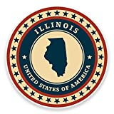 2 x 10cm- 100mm Illinois USA Vinyl SELF ADHESIVE STICKER Decal Laptop Car Travel Luggage Label Tag #9351