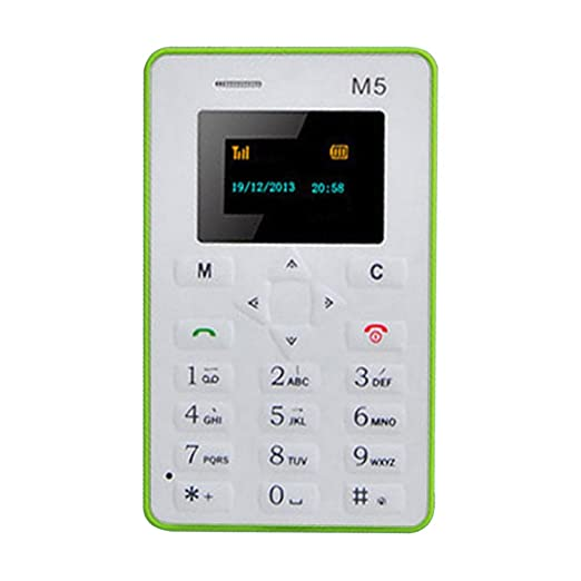 Mini-M5 - Tarjeta de teléfono móvil ultrafina de 2,54 cm con pantalla de bolsillo para teléfono móvil M5, ultra delgada, con bolsillo de radiación ...