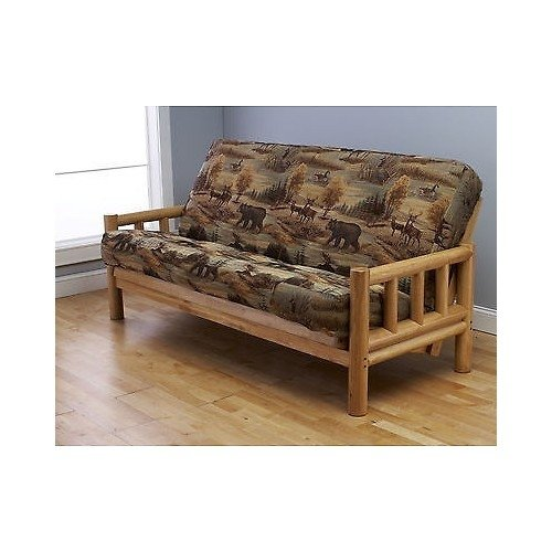 Futon Frame And Full Size Mattress Set This Rustic Log Frame Sofa Set Easily Converts To Full Size Bed Nice The Wildlife Upholstery Is Great In Hunting Cabin Cottage Or Log Home 8 Thick Sleeper P