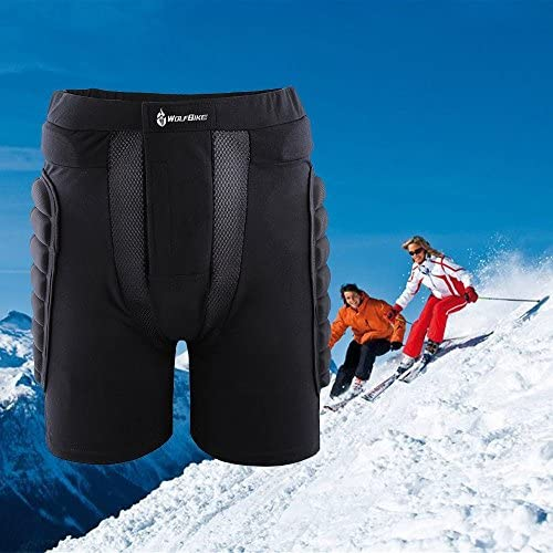 WOLFBIKE Sport Kurz mit 3D Gepolsterte Schutzhülle Hip Butt Pad Ski Skate Kompression Half Pants