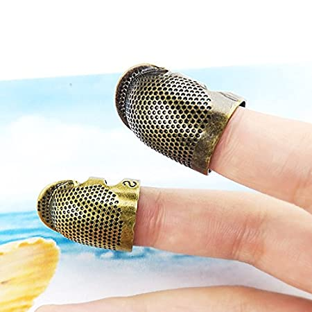 Copper Thimble Finger Protector Antique Finish Metal Brass Fingertip Thimble Sewing Handworking Pin Needles Partner for DIY Crafts Sewing Tools Needlework Accessor S