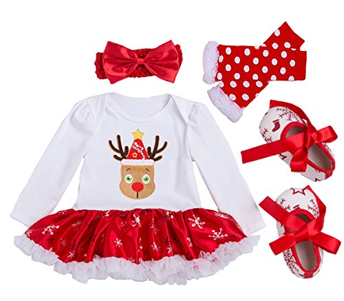 Baby Costumes Nz (MXCZ Baby-Girls Long Sleeved Dress Cotton Christmas Suit(4pcs))