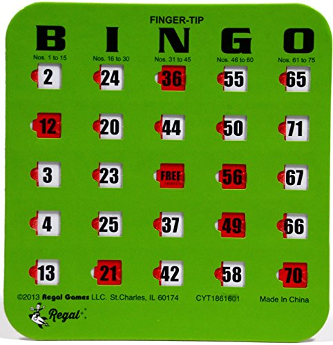 Regal Games 10 Green Fingertip Shutter Slide Bingo Cards by Regal Games