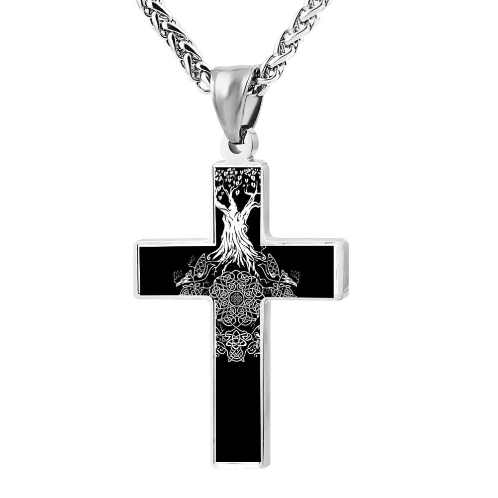 Wine Jianxian Yggdrasil Tree Of Life Cross Pendant Jewelry Zinc Alloy Prayer Necklace For Men Women With Necklace,24 Inch