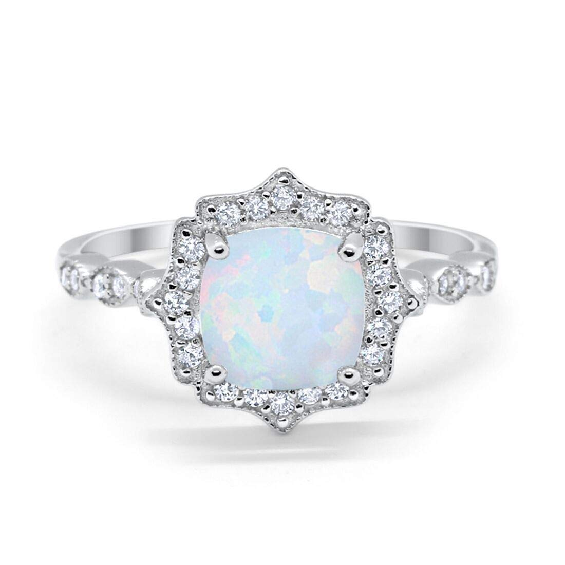 Blue Apple Co. Halo Art Deco Engagement Ring Cushion Simulated Morganite Round Cubic Zirconia Rose Tone 925 Sterling Silver Choose Color