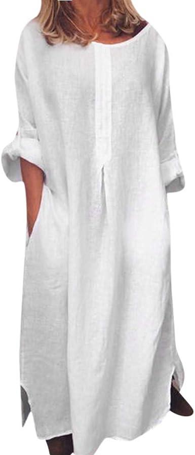 AIni Vestidos Mujer Casual Largos Primavera Y OtoñO Nuevo Vestido De AlgodóN Y Lino Vestido Suelto Sencillo Vestido Largo Vestido De Cuello Redondo con Botones Vestido De Bolsillo Maxi Vestidos: Amazon.es: Ropa