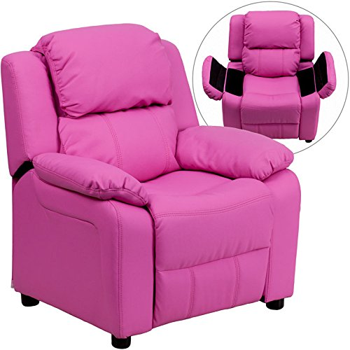 Eight24hours Deluxe Padded Contemporary Hot Pink Vinyl Kids Recliner with