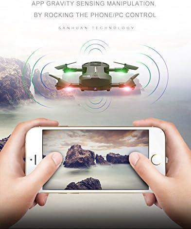 Drone Skye, Drone Pliable avec Caméra, 500W HD WiFi FPV Diffusion en Direct, App-Control, Une Touche De Démarrage/Atterrissage, Le Mode sans Tête, Contrôle Gestuel
