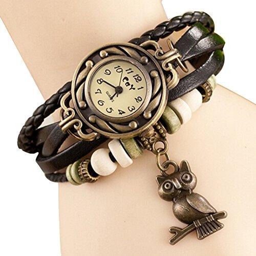 Women Weave Wrap Leather Bracelet Wrist Watch Black - 5
