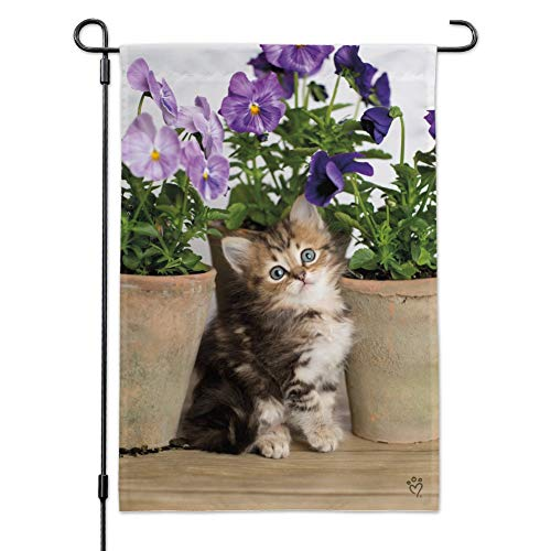 Graphics and More Ragdoll Tiffany Kitten Cat Flower Pots Garden Yard Flag with Pole Stand Holder ()