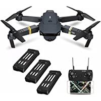 Drone With Camera Live Video, EACHINE E58 WIFI FPV Quadcopter With 120° Wide-angle 720P HD Camera Foldable Drone RTF - Altitude Hold, One Key Take Off/Landing, 3D Flip, APP Control (3Pcs Batteries)