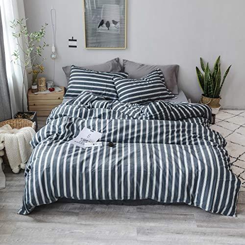 Gravan 3-Piece Duvet Cover Set, 100% Washed Cotton Duvet Cover, Ultra Soft Solid Color Modern Style Bedding Set Natural Wrinkled Look (Navy Strip, Queen)