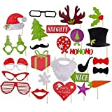 Musumer Christmas Photo Booth Props, DIY Photo Booth Prop Kit, Pack of 27 Pcs, Birthday Holiday Wedding Christmas New Year Party Decorations Supplies
