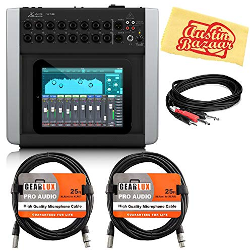 Behringer X Air X18 18-Channel 12-Bus Digital Mixer Bundle with XLR Cables, Stereo Breakout Cable, and Austin Bazaar Polishing Cloth
