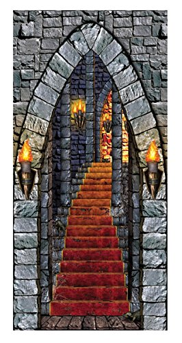 Forbidden Castle Entrance Door Cover Horror Party Halloween Decoration]()