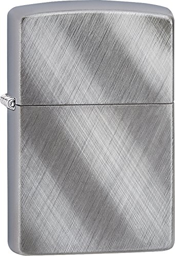 Zippo Personalized Chrome Windproof Lighter Custom Message Engrave (Brushed Chrome Diagonal Weave)
